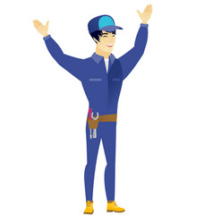 Locksmith standing with raised arms up vector