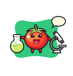 Mascot character tomatoes as a scientist vector