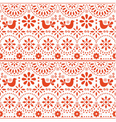 Mexican folk art seamless pattern birds vector