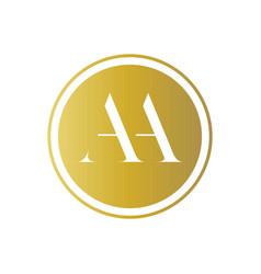 Monogram aa in a golden circle vector