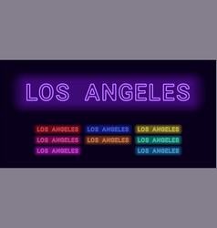 neon name of los angeles city vector image
