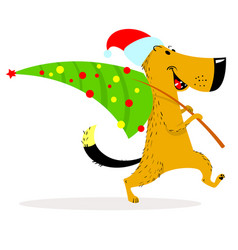 new year dog character a cheerful dog carries a vector image
