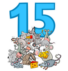 Number fifteen and cartoon mice group vector