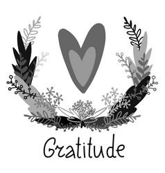 Ornamental isolated floral gratitude vector