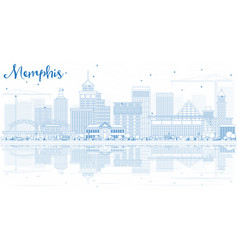 Outline memphis skyline with blue buildings and vector
