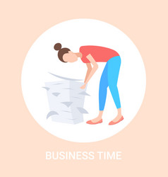overworked businesswoman engaged in work vector image