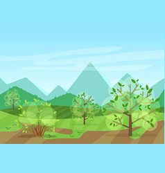 Peaceful green landscape with mountains and vector