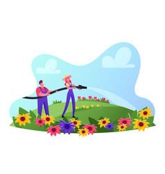People care flowers on field outdoor seasonal vector
