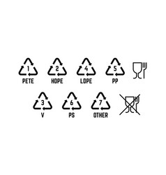 Resin identification code food grade plastic sign vector