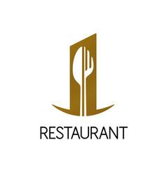 restaurant logo design fork and knife shape vector image