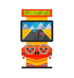 Retro racing car arcade game machine with steering vector