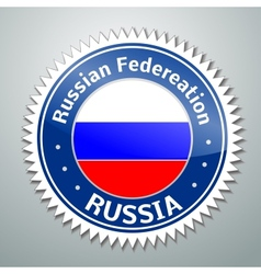 Russia flag label vector image