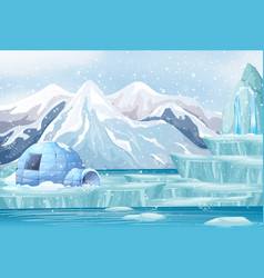 Scene with igloo in snow mountain vector