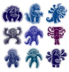 Set cool cartoon monsters colorful weird vector
