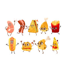 set of funny fast food characters with human faces vector image