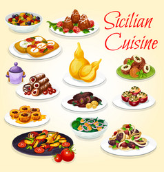 sicilian salad pasta stew and dessert dishes vector image