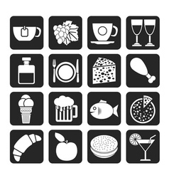 Silhouette Food and beverage icons vector