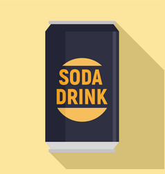 Soda drink can icon flat style vector