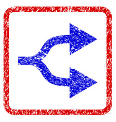 Split arrows right grunge framed icon vector