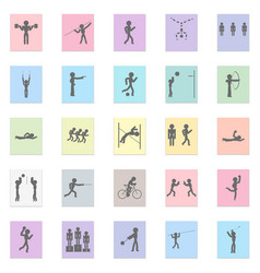 sports set black icon on color sticker vector image