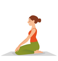 Sporty beautiful young woman practicing yoga vector