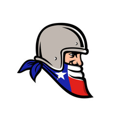 texan bandit wearing bandana texas flag mascot vector image