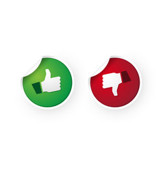 thumbs up and thumbs down icon stickers vector image