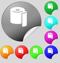 Toilet paper icon sign Set of eight multi colored vector