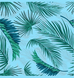 Tropical leaves summer seamless pattern vector