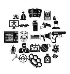 Violation icons set simple style vector