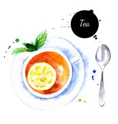 watercolor hand drawn breakfast tea cup vector image