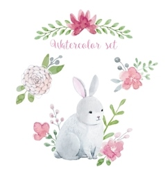 Watercolor rabbit with flowers vector