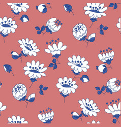 white flowers hand drawn seamless pattern vector image