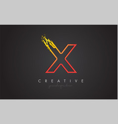 x letter design with golden outline and grunge vector image
