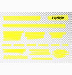 Yellow highlighter marker strokes brush vector