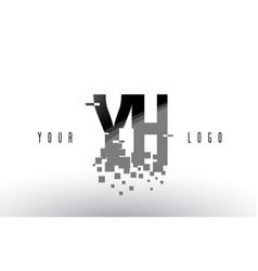 Yh y h pixel letter logo with digital shattered vector