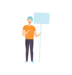 young man holding empty board guy at vector image