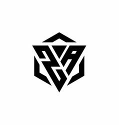 za logo monogram with triangle and hexagon modern vector image