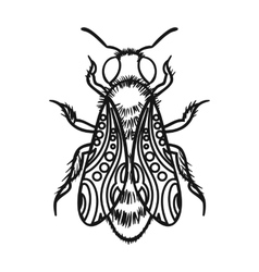 Bee icon in outline style isolated on white vector image