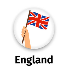 england flag in hand round icon vector image vector image