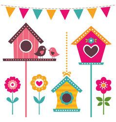 bird houses set vector image vector image