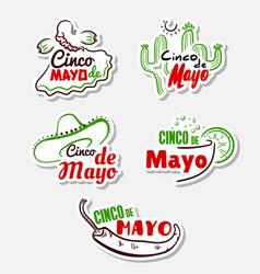 cinco de mayo stickers set vector image
