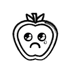 contour kawaii nice crying strawberry fruit vector image