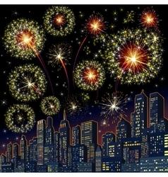 Festive Firework Skyline Image vector image vector image