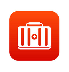 first aid kit icon digital red vector image