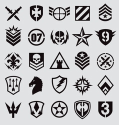 Military icons symbol set on gray vector image vector image
