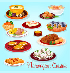 norwegian cuisine dishes for lunch menu icon vector image vector image