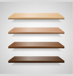 set of wood shelves with shadows vector image vector image