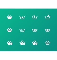 Shopping Basket icons on green background vector image vector image
