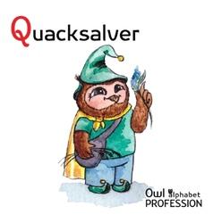 Alphabet professions Owl Letter Q - Quacksalver vector image vector image